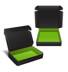 set of black cardboard box package for vector image