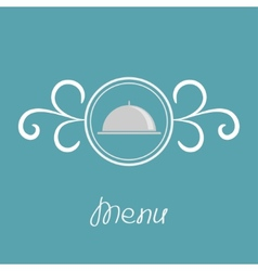 Silver platter cloche and round frame vector image