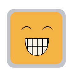 Square colorful shape emoticon face happines vector