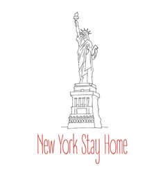 Stay home poster for new york vector