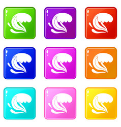 Surf wave set 9 vector