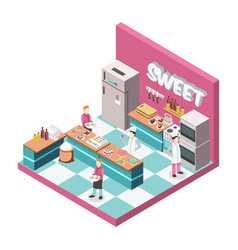 Sweet shop kitchen isometric vector