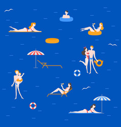 travel activity on sea resort pattern vector image