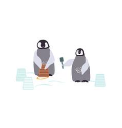 two cartoon penguins are building a snowcastle vector image