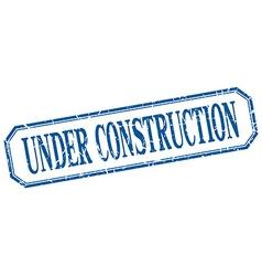 Under construction square blue grunge vintage vector