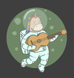 unicorn space astronaut vector image