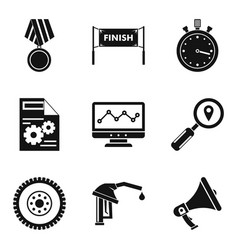 victory icons set simple style vector image