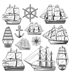 Vintage big ships collection vector