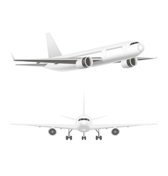 White Jet Airplane in the Air Set vector image