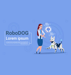 Woman with robotic dog updating interface animal vector