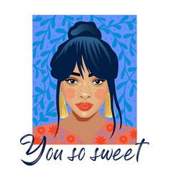 you so sweet typography slogan with girl sequins vector image