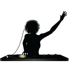 dj silhouette vector image