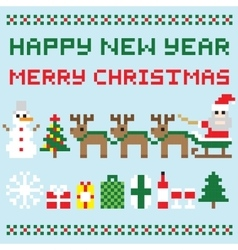 Happy new year and merry christmas isolated vector image vector image