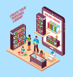 online library isometric concept vector image