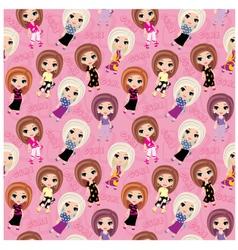 seamless girls pattern vector image
