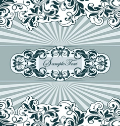 vintage blue card with floral elements vector image vector image