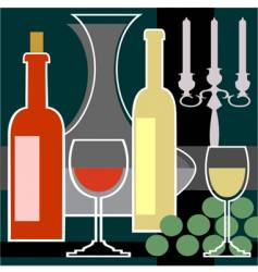 wine bottles and glasses background vector image vector image