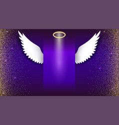 angel wings with golden halo hovering on the dark vector image vector image