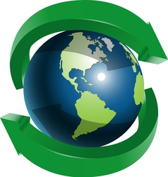 Globe and two green arrows vector image
