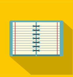 Open spiral lined notebook icon flat style vector