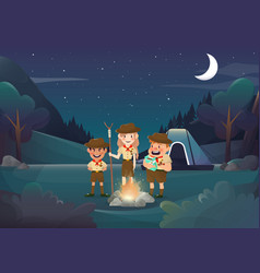 three scouts camping for activity in the night vector image