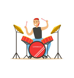 young man playing on drums guy behind the drum vector image vector image