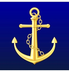 Gold Anchor on blue background vector image vector image