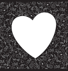 heart frame made of doodle valentine elements vector image