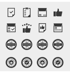 Quality control black icons set vector image vector image