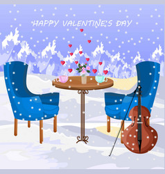 romantic lunch in the air snowing winter vector image
