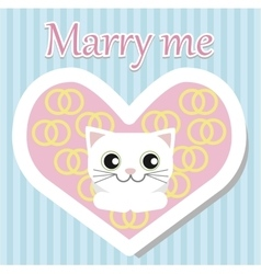 White cat lies and looking for Valentine day vector image