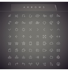Arrows Thin Icons Set vector image
