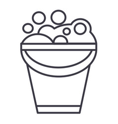 bucket with soap foam line icon sign vector image vector image