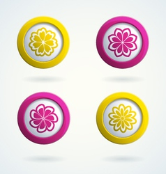 Icons with flowers vector image vector image