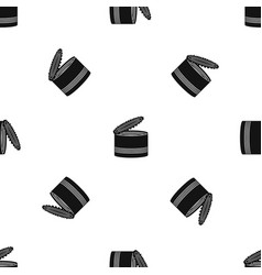 Open tin can pattern seamless black vector