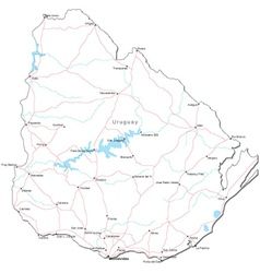 Uruguay Black White Map vector image