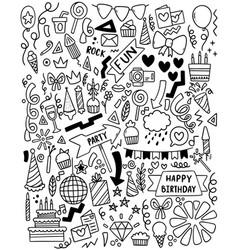 0059 hand drawn party doodle happy birthday vector