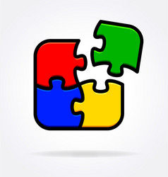 4 simple puzzle pieces connecting together vector