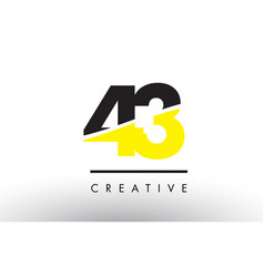 43 black and yellow number logo design vector