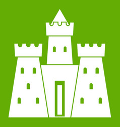 Ancient castle palace icon green vector