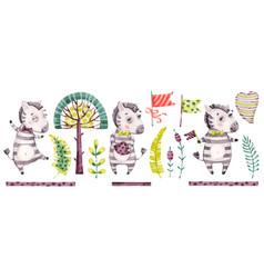 Baby cute zebra boy watercolor nursery vector