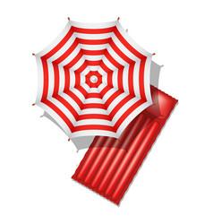 beach umbrella and air mattress vector image