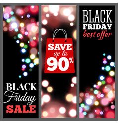 Black friday sale vertical banners bokeh lights vector