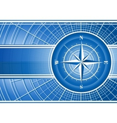 Blue background with compass rose vector