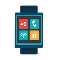 blue smartwatch with colorful media icon vector image vector image
