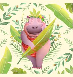 boho style hippopotamus lady on jungle background vector image