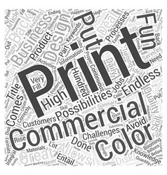 Booming Commercial Printing Business Word Cloud vector