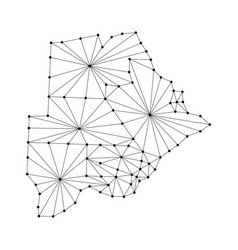 Botswana map of polygonal mosaic lines network vector