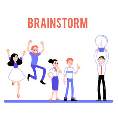 braindstorm male female character flat set vector image