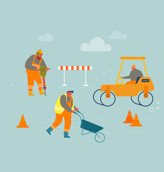 builders in overalls with heavy asphalting vector image